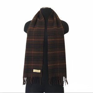 Authentic Burberry Of London Lambswool Checker Long Wrap Stole Scarf Vintage